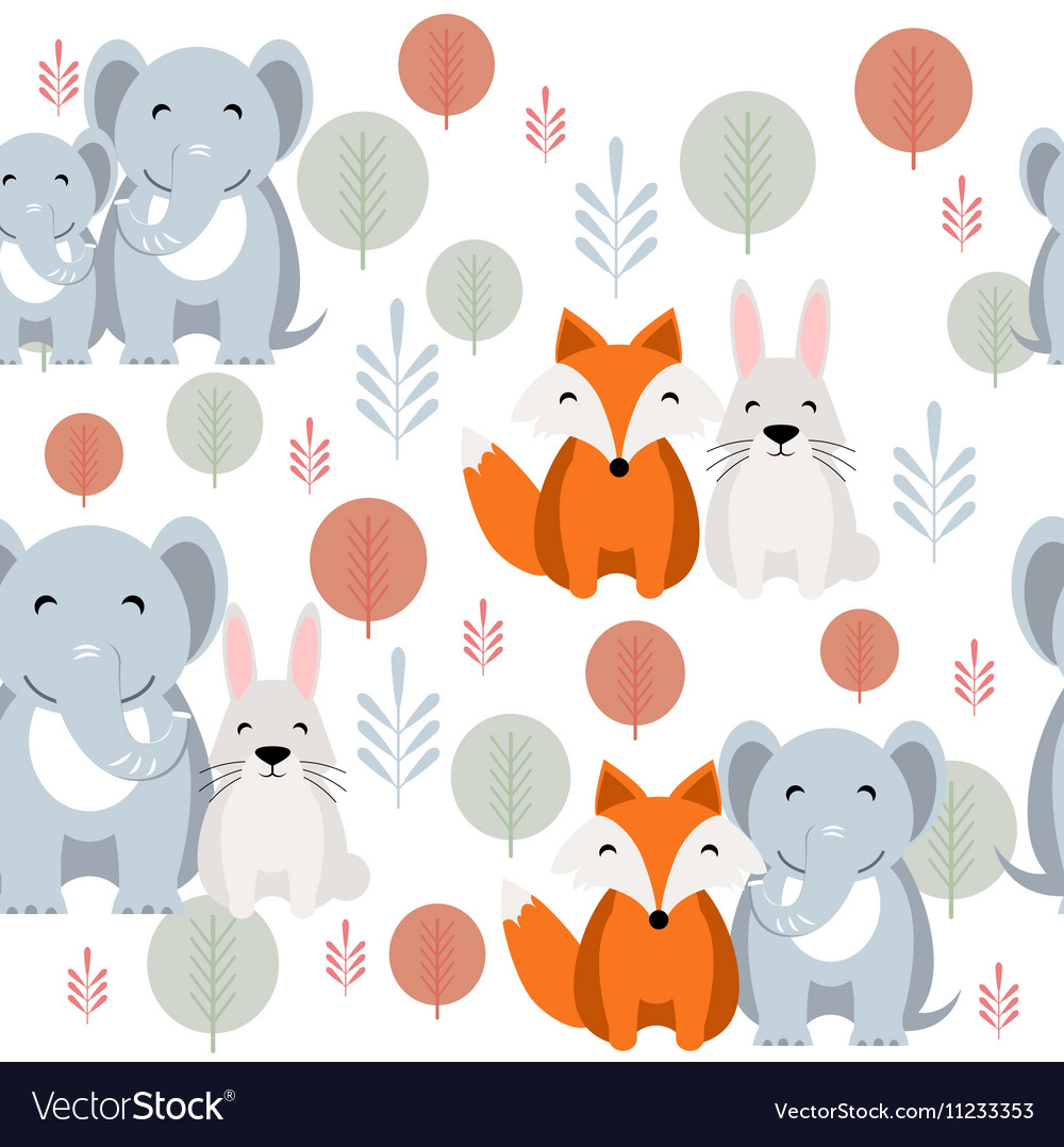 Cute animal seamless pattern with elephant