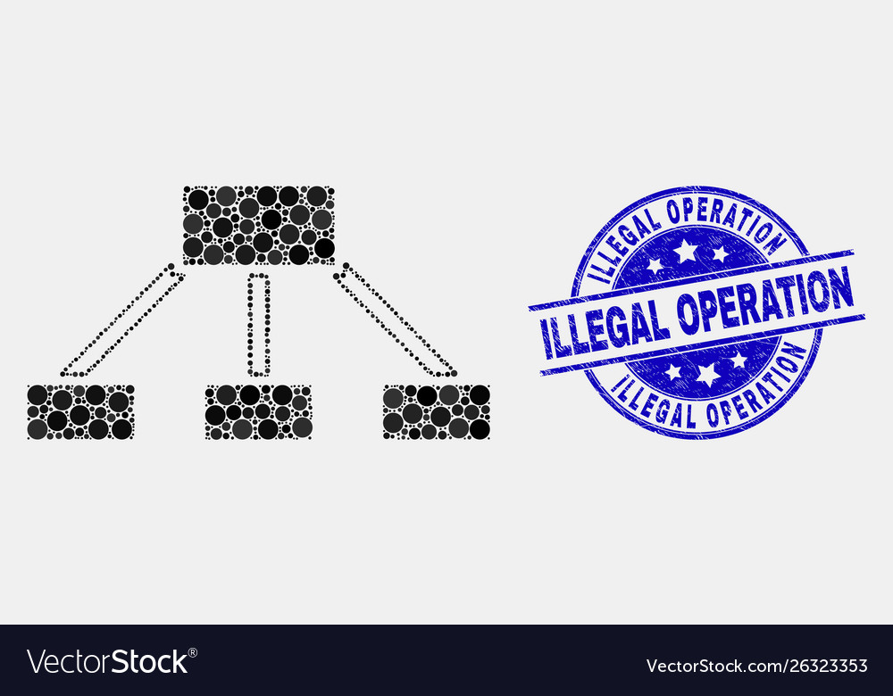 Dot hierarchy links icon and grunge illegal