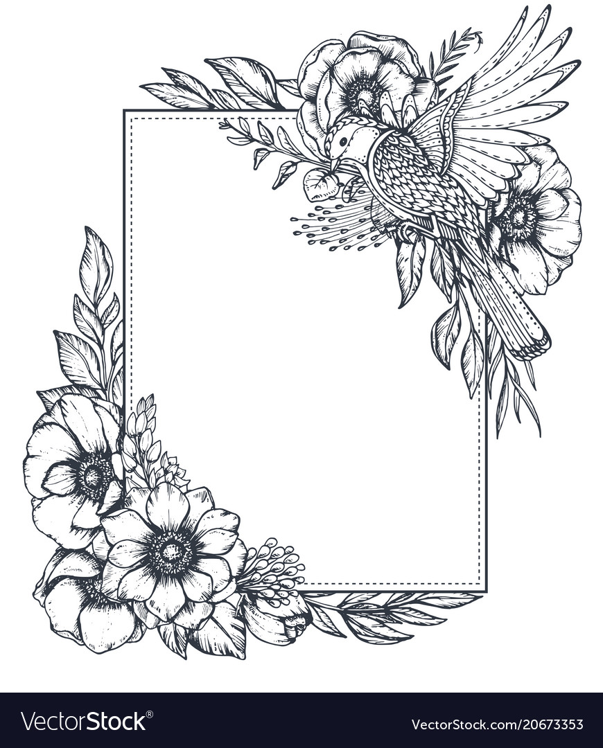 Floral frame with bouquets of hand drawn
