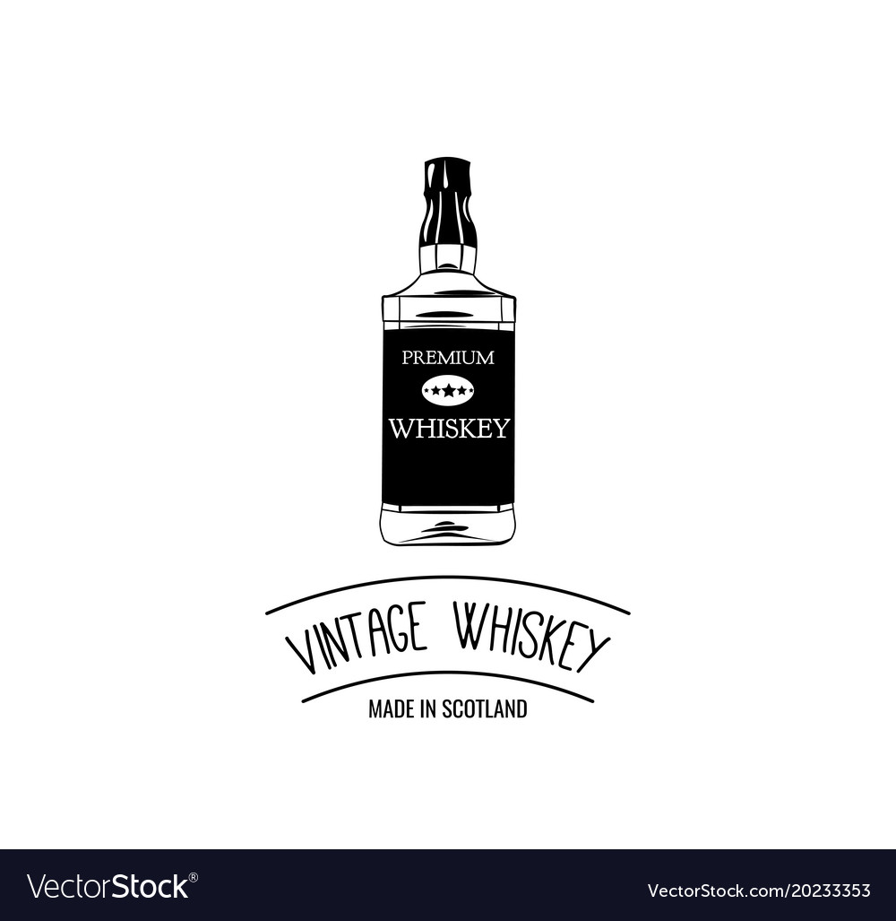 Hand draw of whiskey bottle