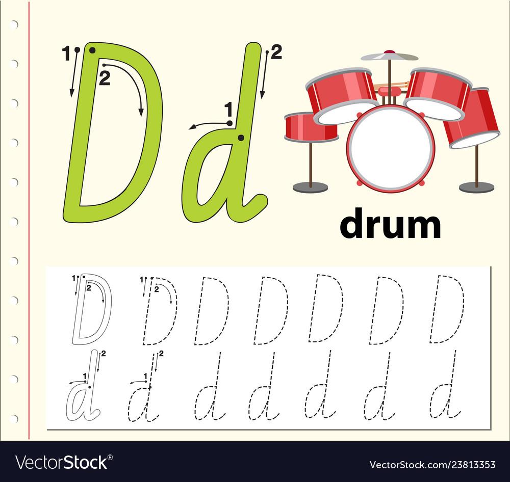 Letter D Tracing Worksheets.Letter D Tracing Alphabet Worksheets