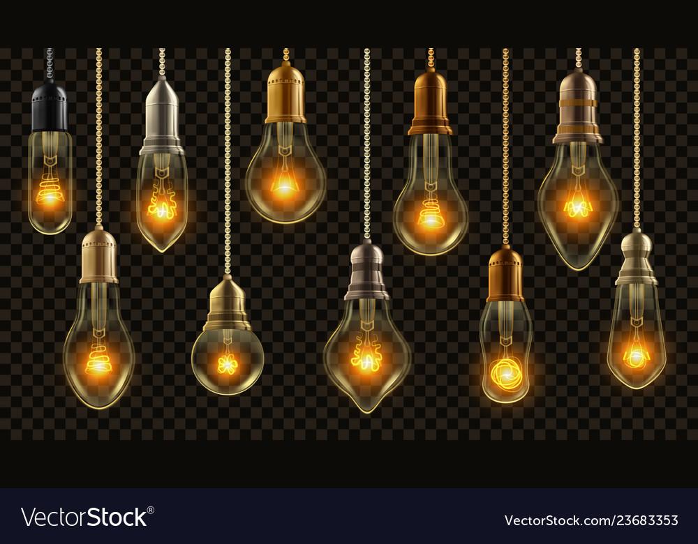 Light bulb vintage set glowing shine lamp