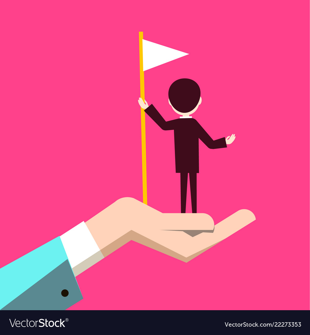 Man with flag in human hand on pink background