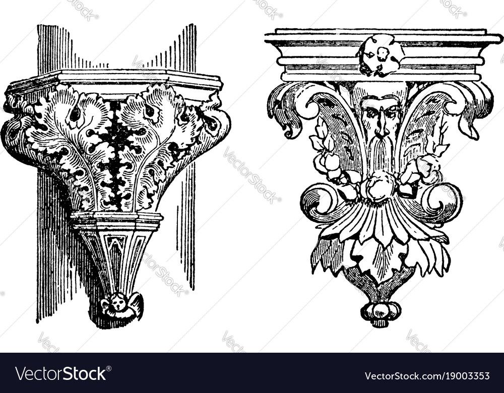 Ornamental brackets bronze vintage engraving