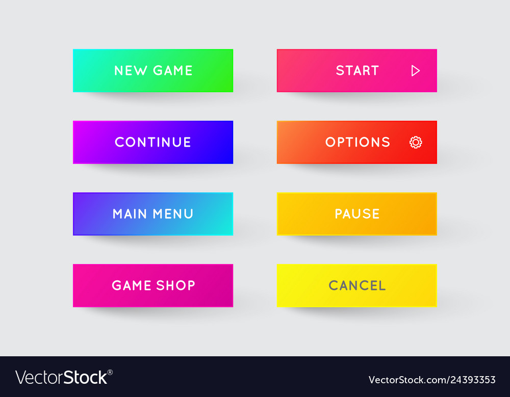 Set modern gradient app or game buttons trendy