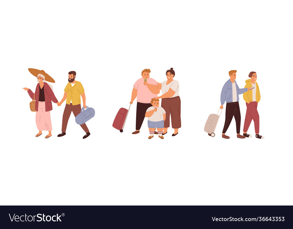 Set tourists traveling with luggage families