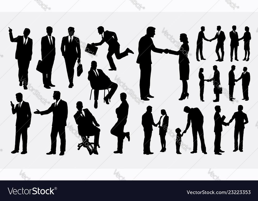 Shake hands businessman silhouettes