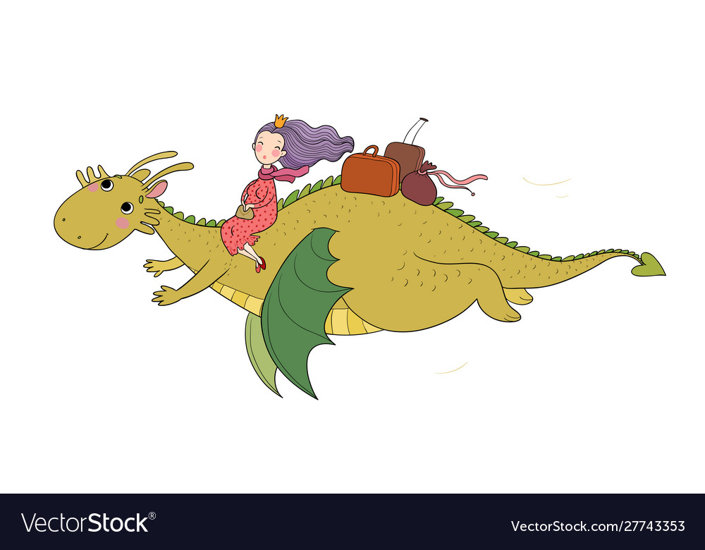 The princess is flying on a dragon queen and