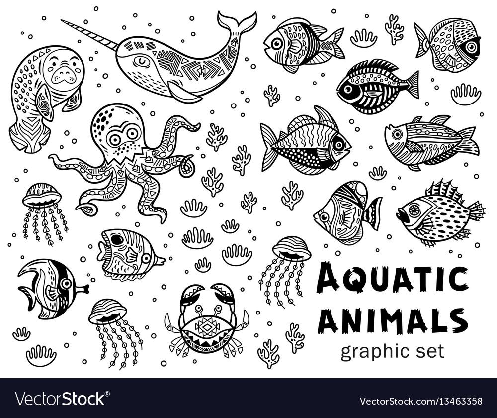 Aquatic animals graphic set