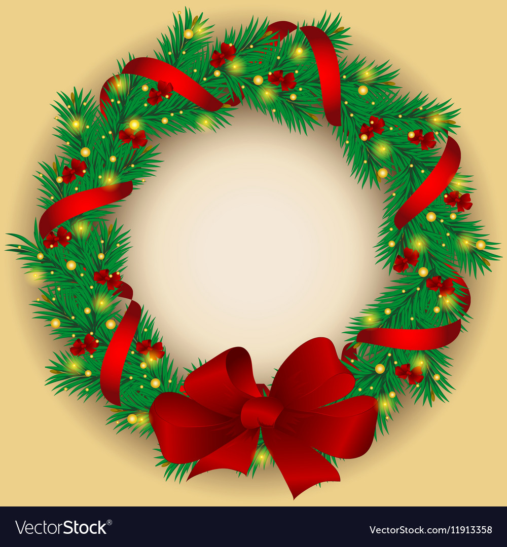 Christmas wreath with baubles and tree