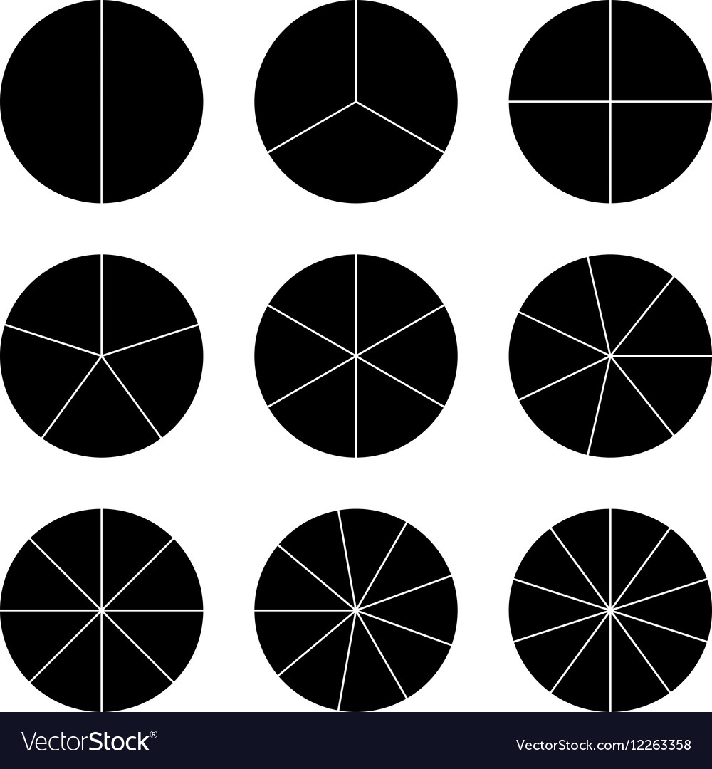 Circle segments set Black flat color
