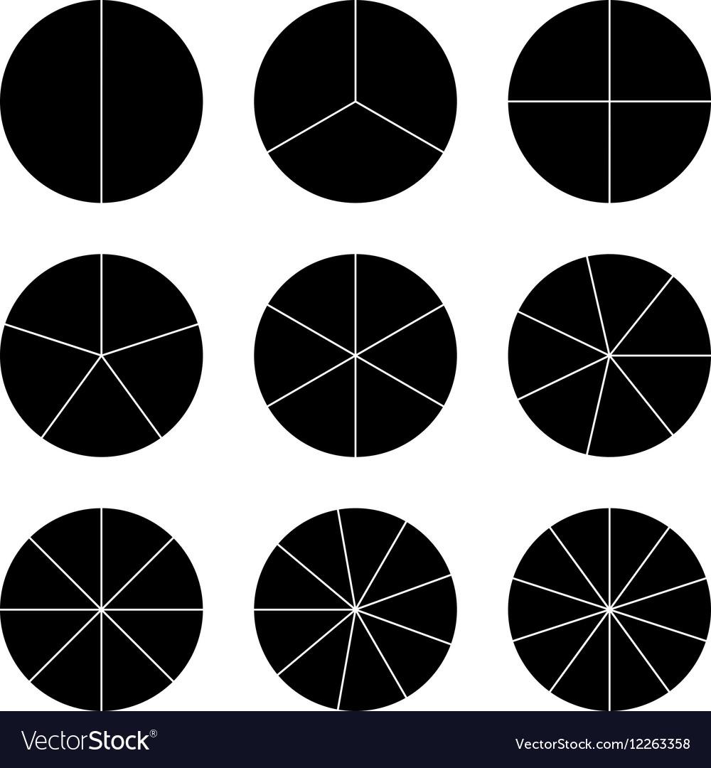 Circle segments set black flat color
