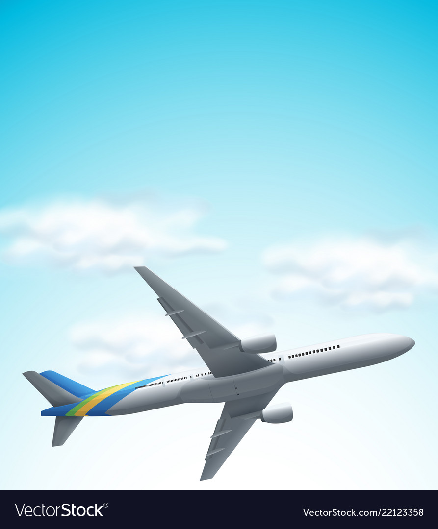 Commerical airplane flying above
