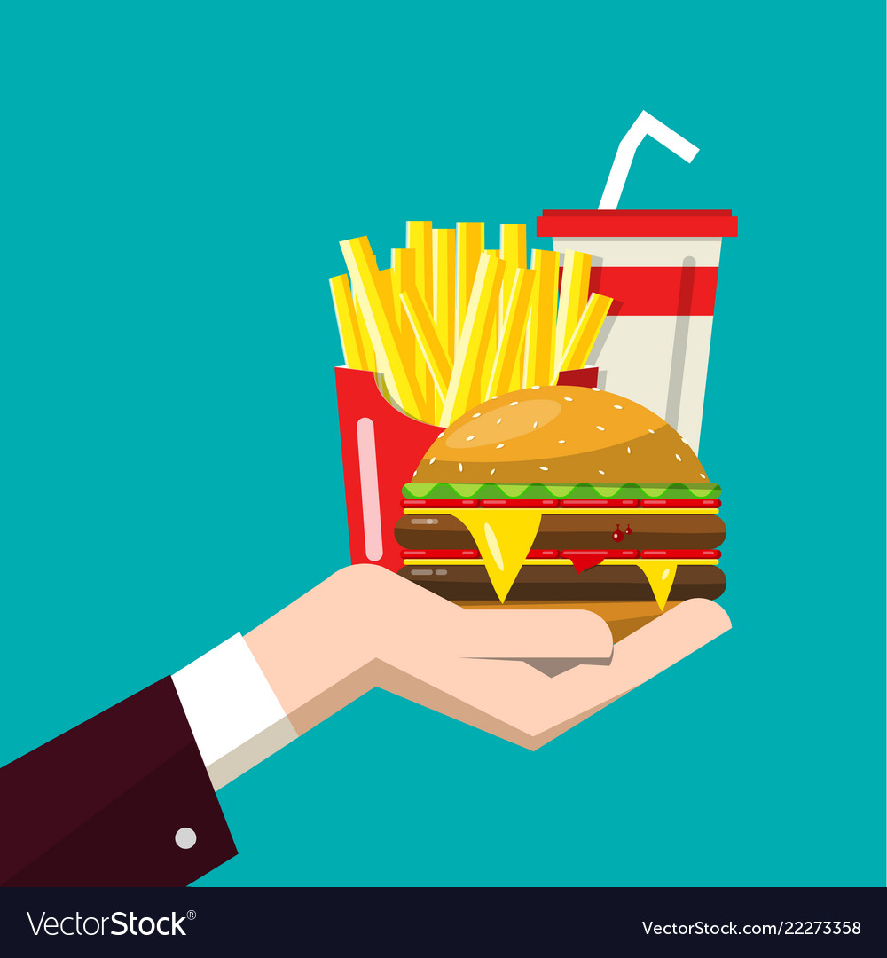 Fast food in human hand flat design of hamburger