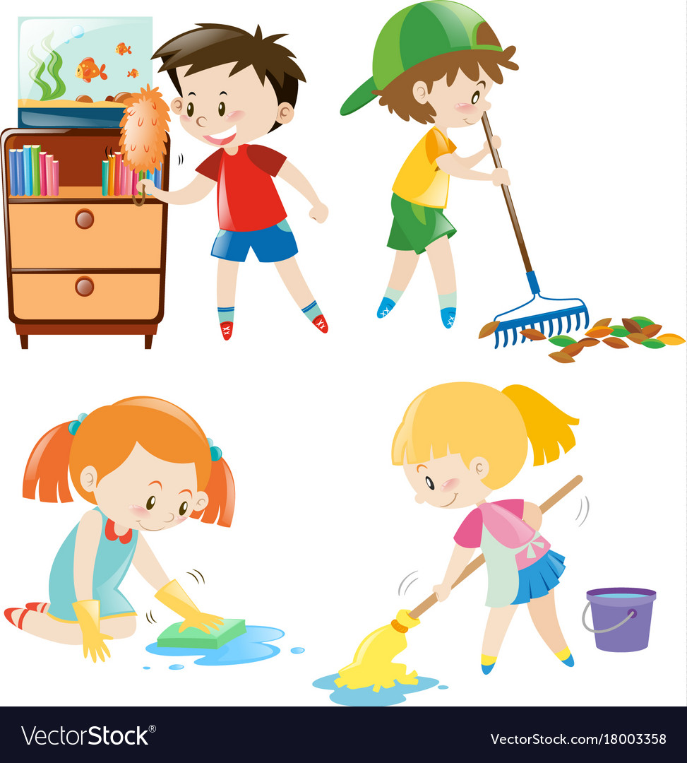 Why Are Kids Different At Home And At >> Four Kids Doing Different Chores At Home Vector Image