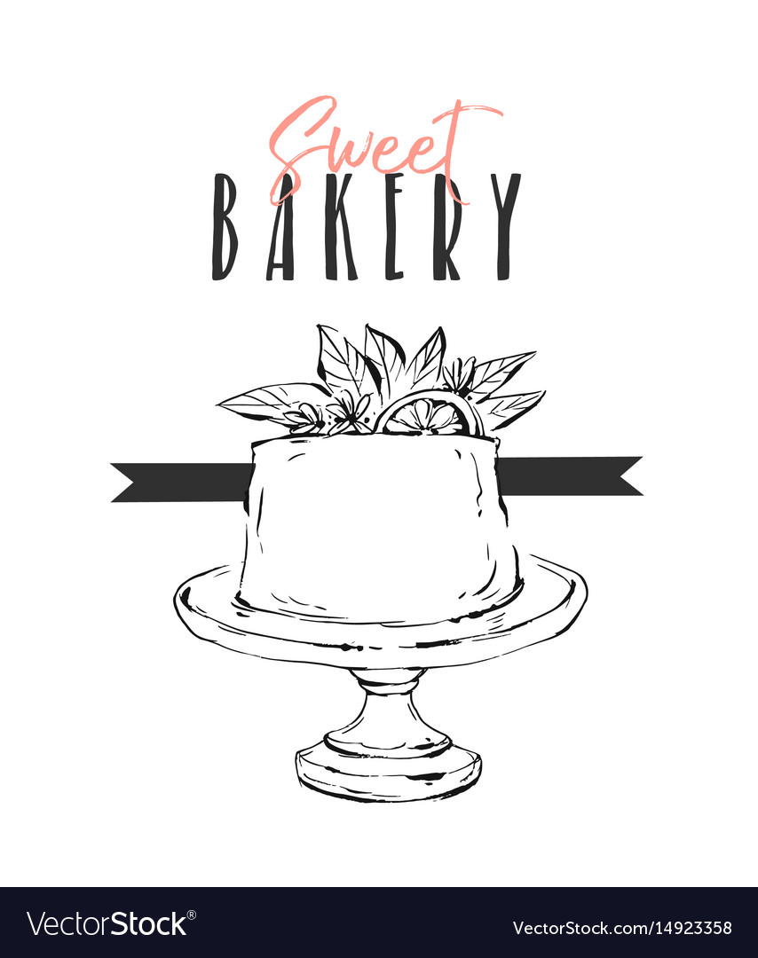 Hand drawn abstract unusual sweet bakery