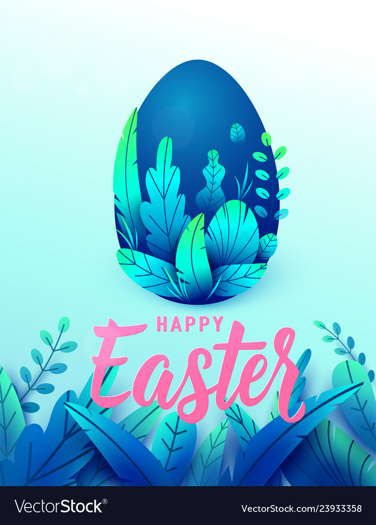 Happy easter card big 3d nature egg with spring