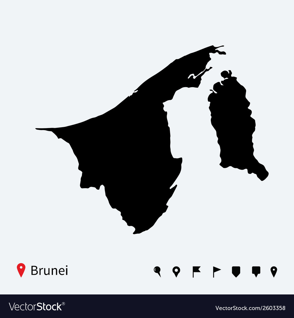 Picture of: High Detailed Map Of Brunei With Navigation Pins Vector Image