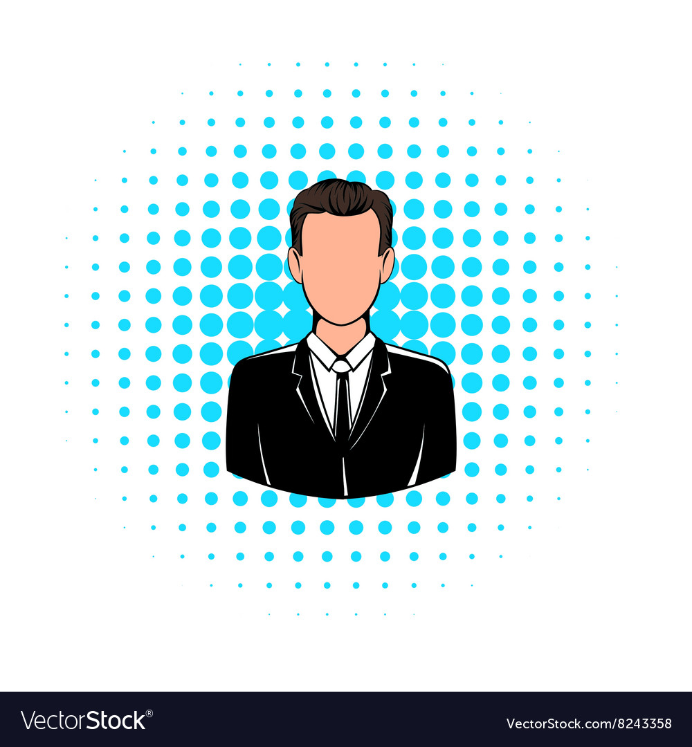 Man in black suit icon comics style