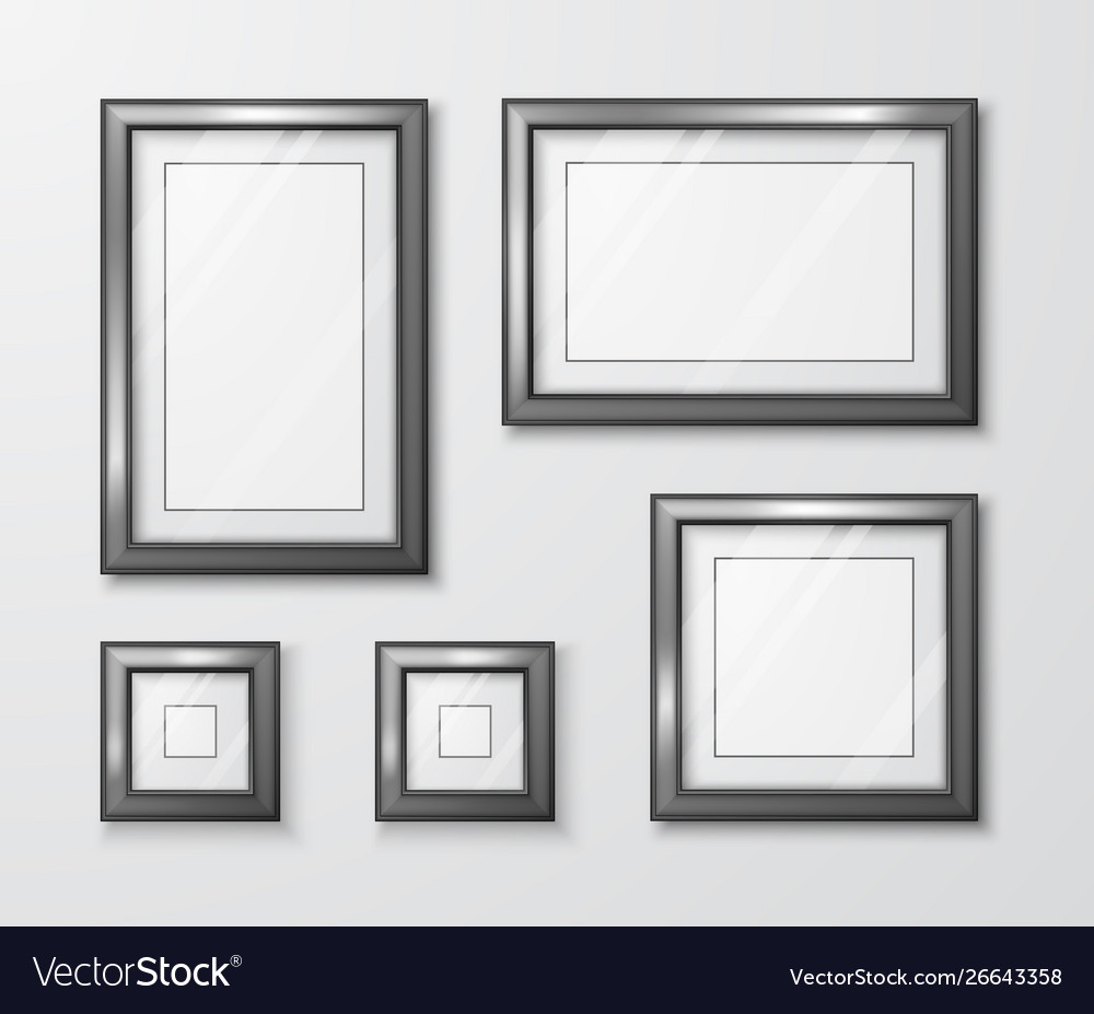 Photo frames on gray wall modern empty frame