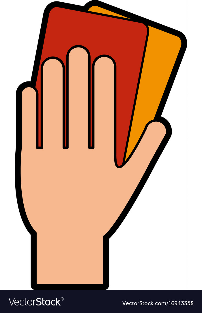 Referee hand with red and yellow card soccer or vector image