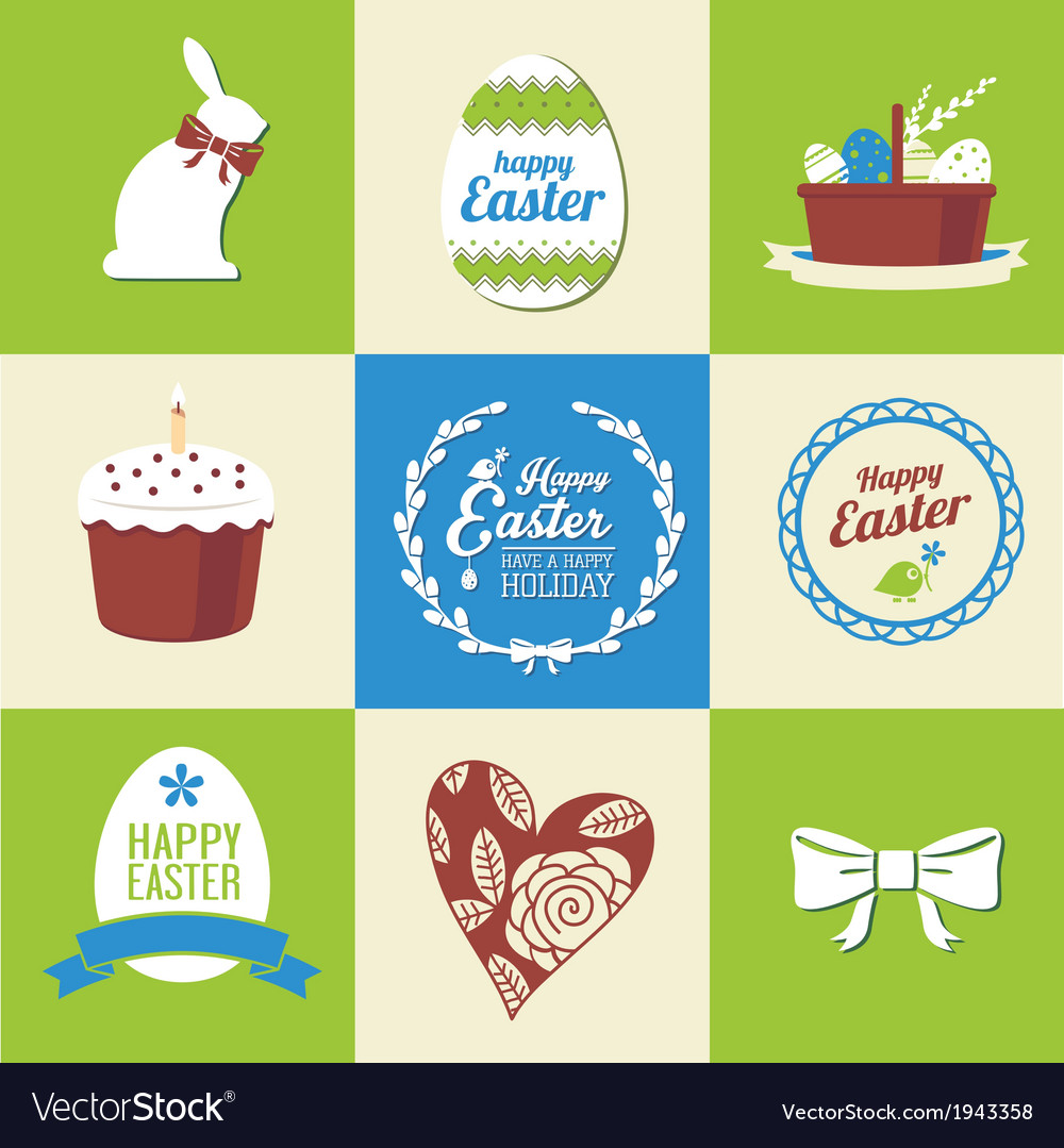 Set easter decorative elements and label