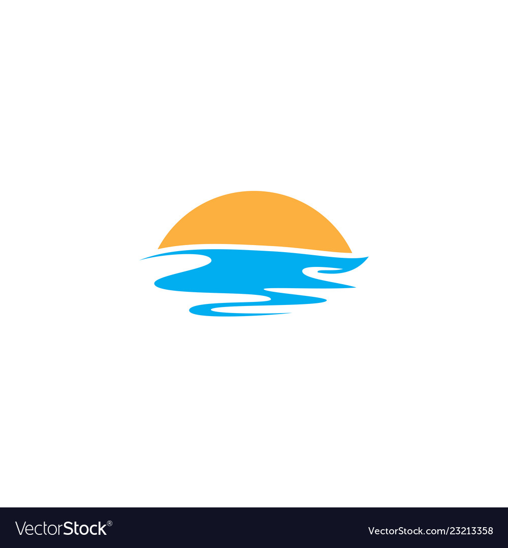Sunset sea wave logo