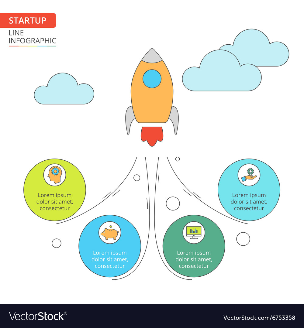 Thin line flat rocket for startup infographic
