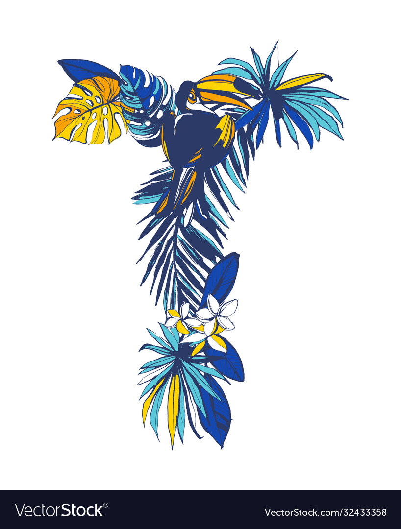 Tropical floral summer letter t hand drawn