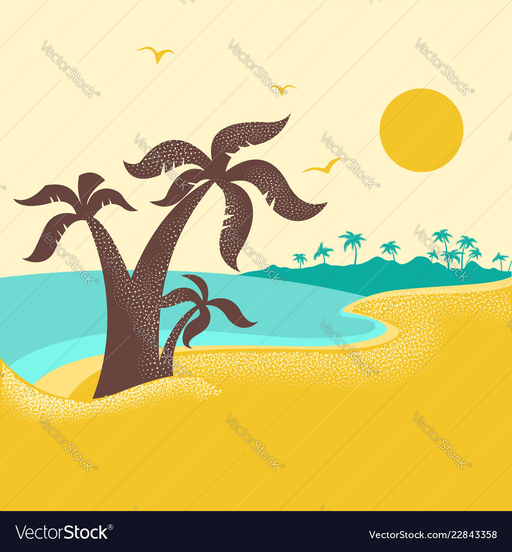 Tropical island with palms poster nature