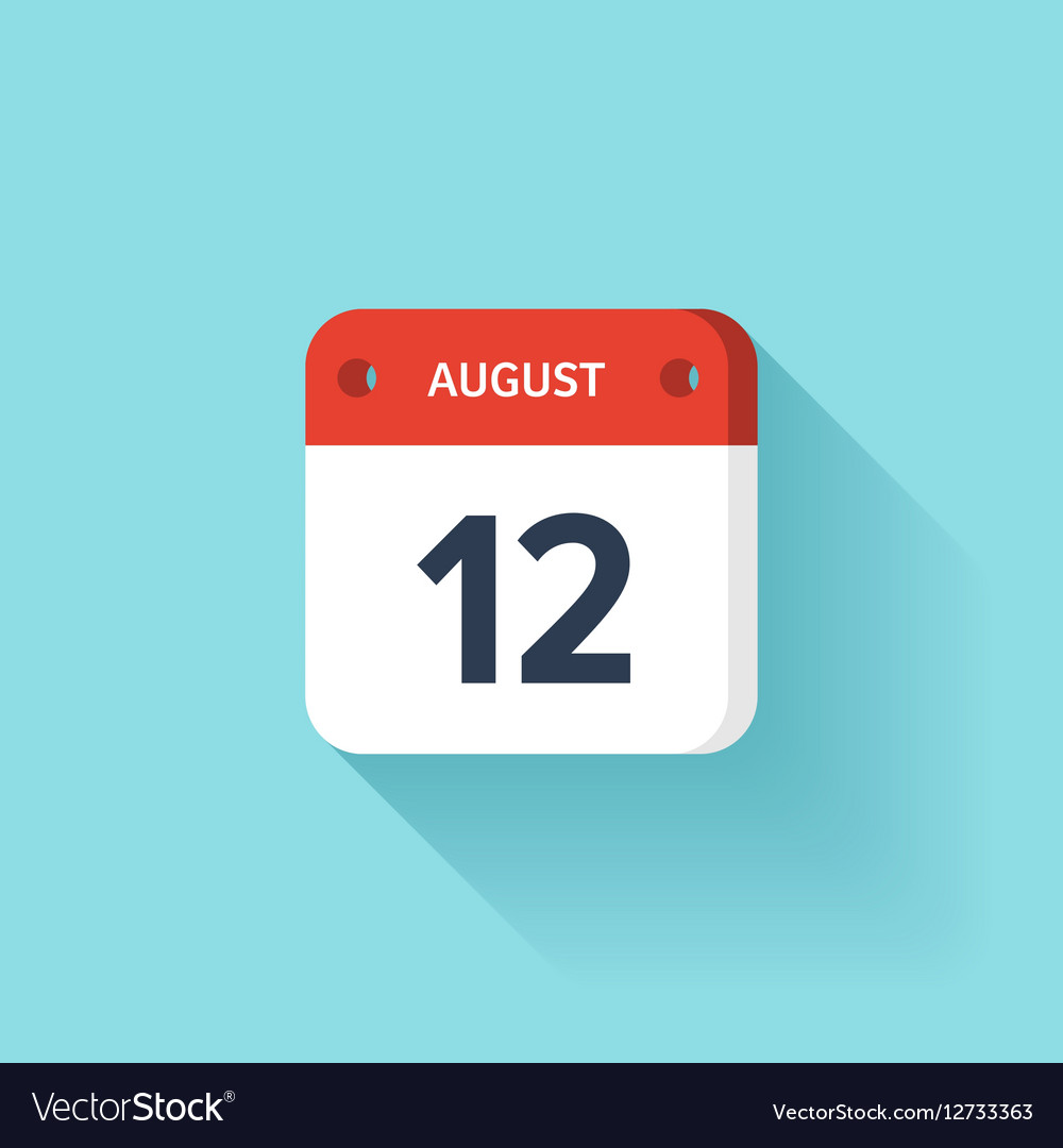 August 12 Isometric Calendar Icon With Shadow