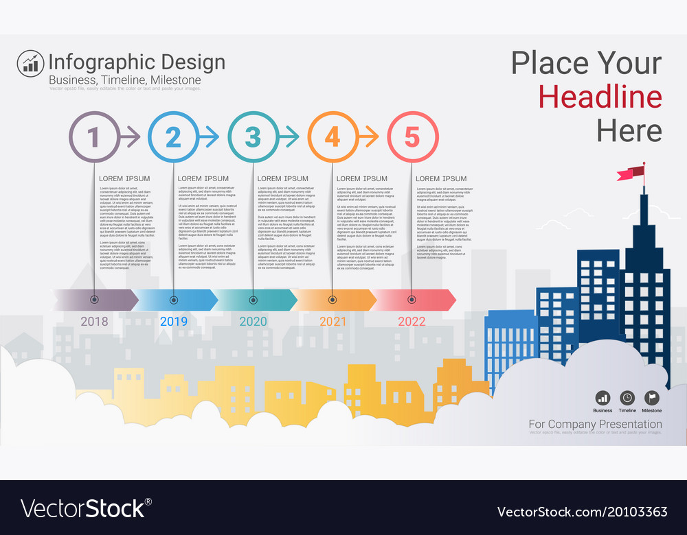 business milestone timeline infographic template vector image