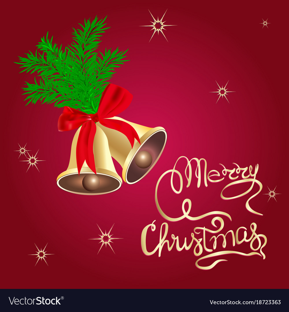 christmas bells merry christmas poster template vector image