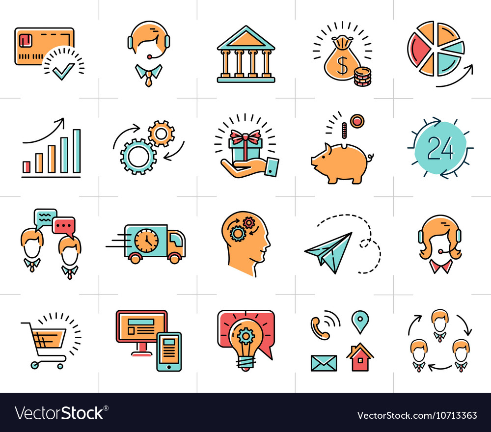 Colorful business icons set infographic vector image