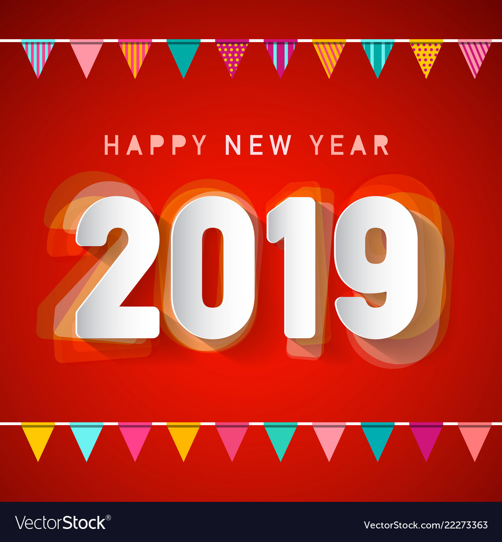 Happy new year 2019 deign with colorful flags on