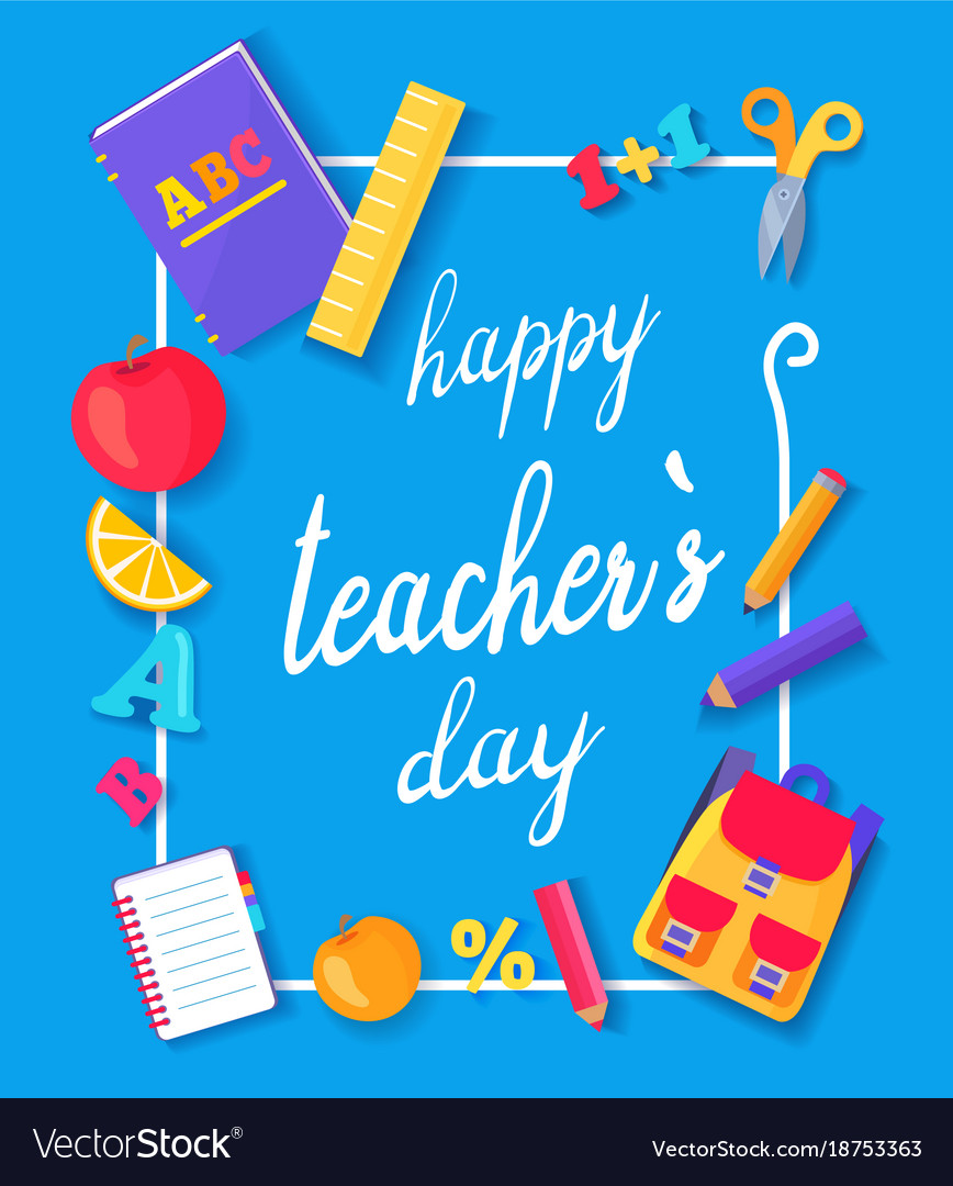 happy teachers day promo blue royalty free vector image