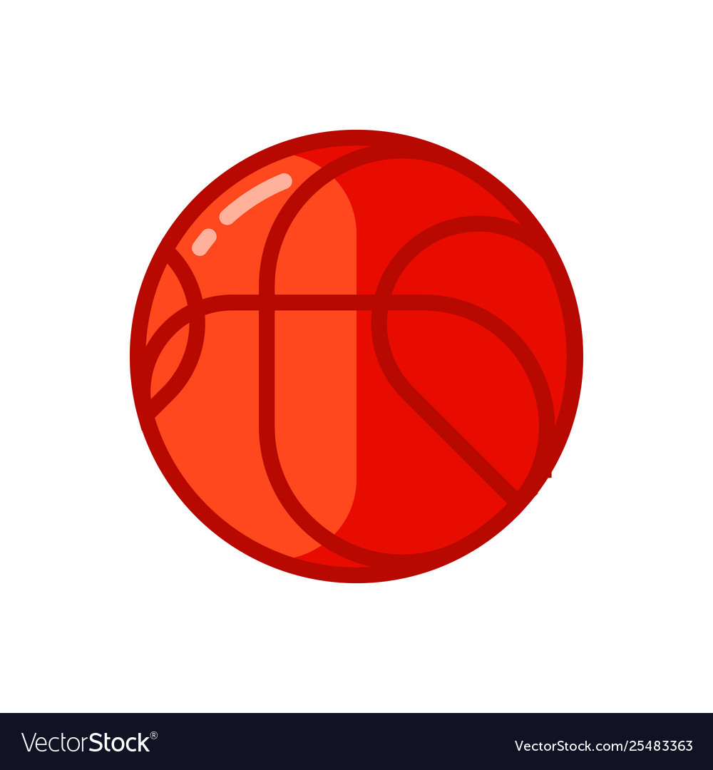 Icon red basketball ball in flat style