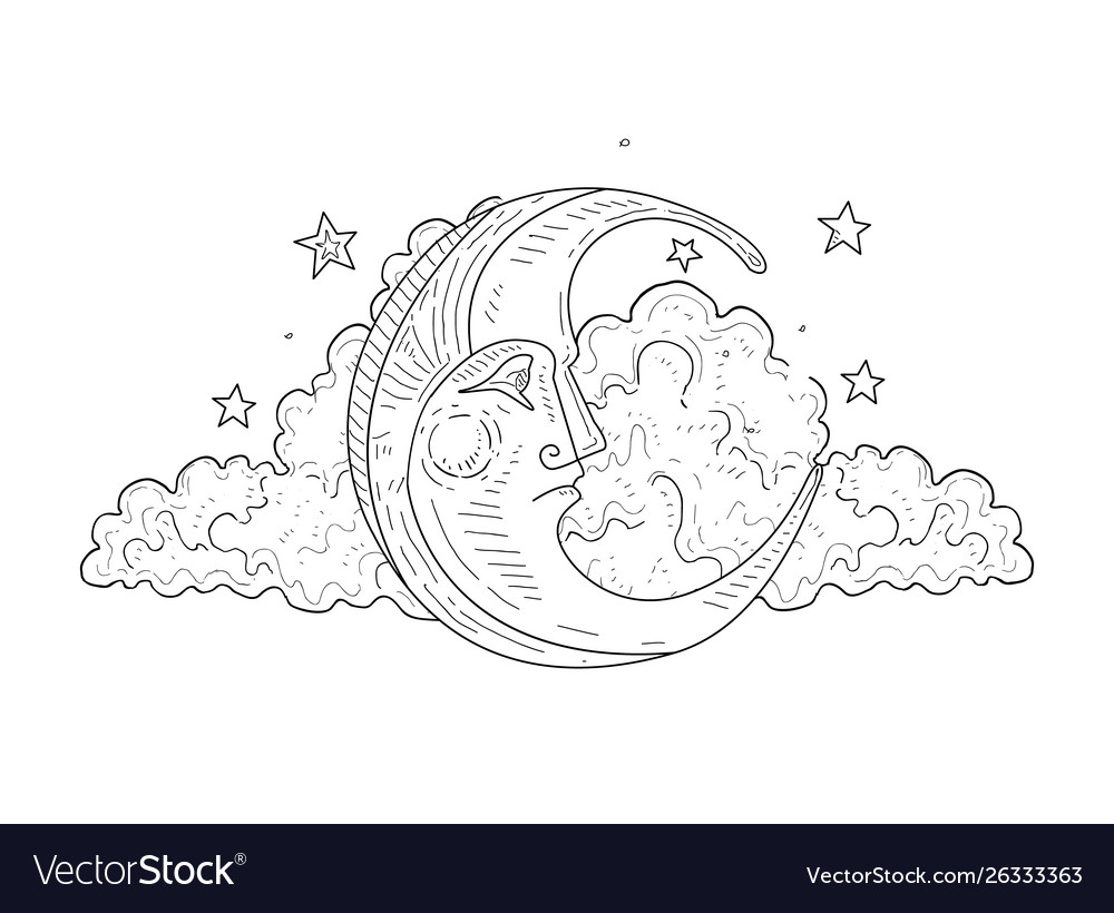 Moon face and cloud vintage hand drawn