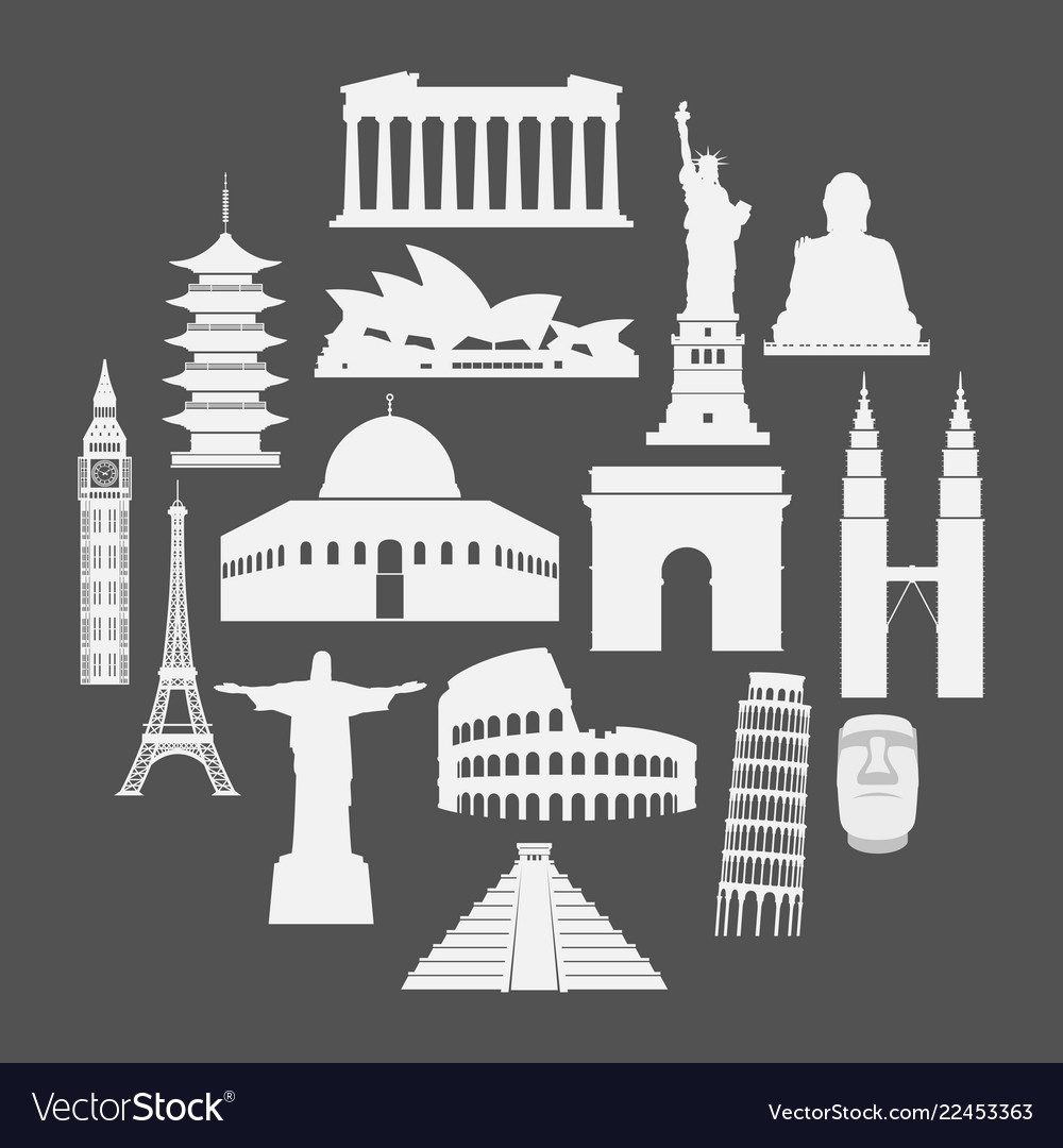 Travel landmarks icon set in paper style