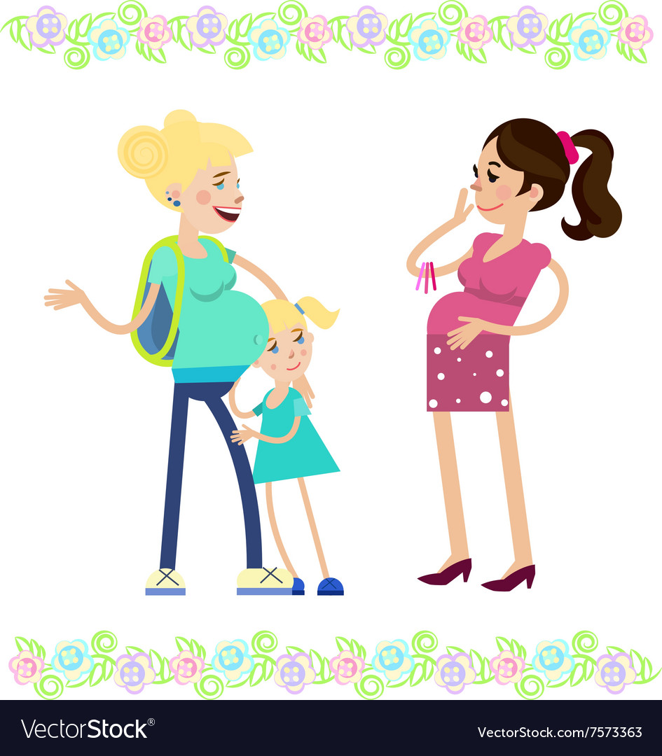 Two pregnant women vector image