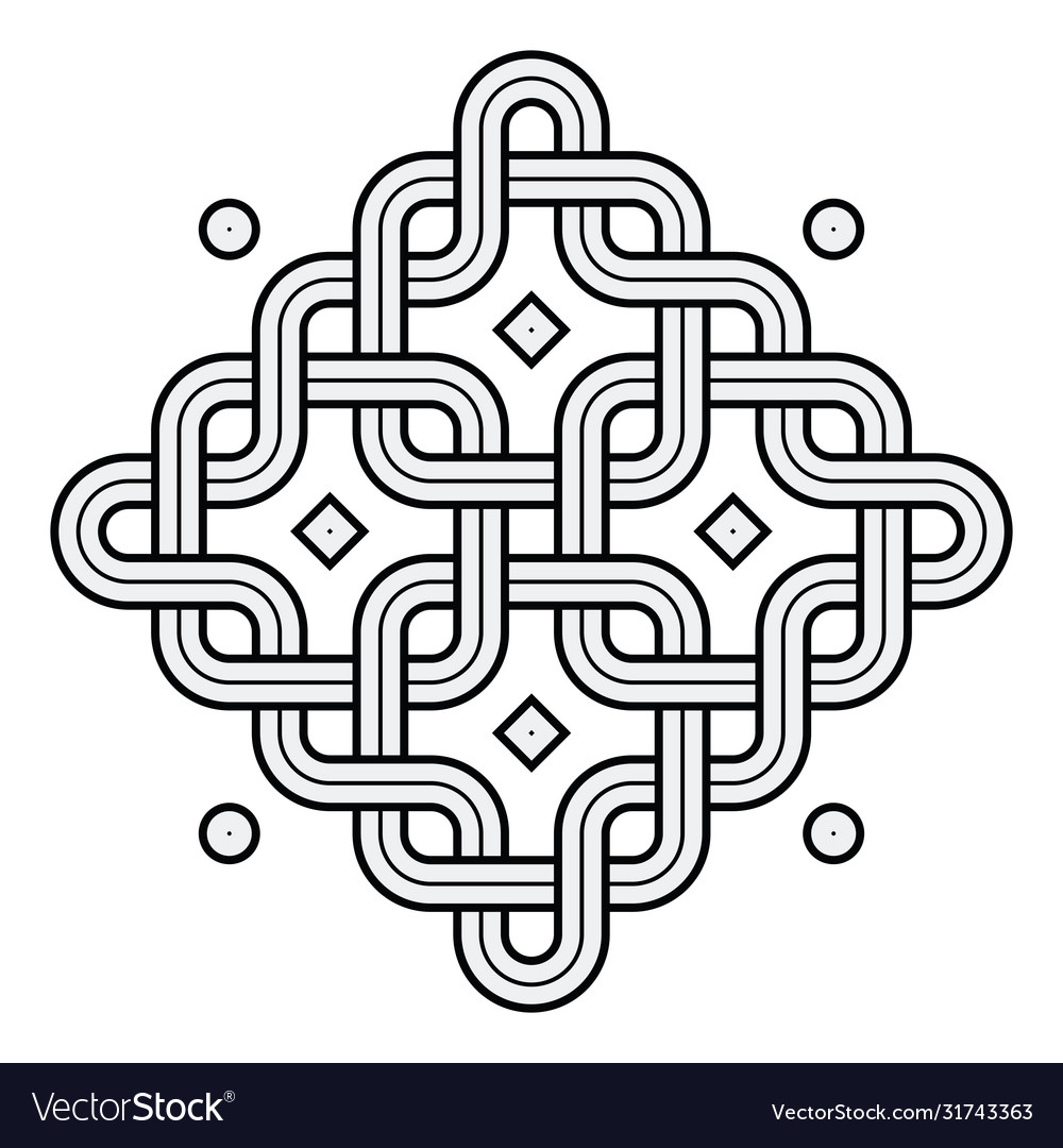 Viking decoration knot - chained rounded squares
