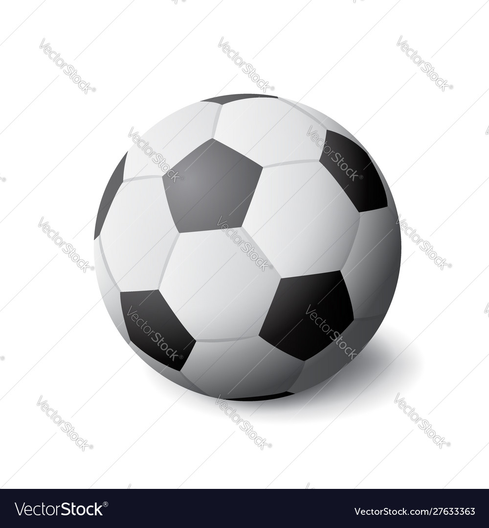 White and black soccer ball icon isolated sports