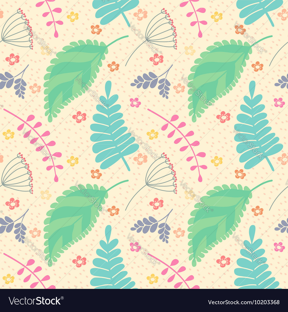 A seamless pattern with leaves and flowers