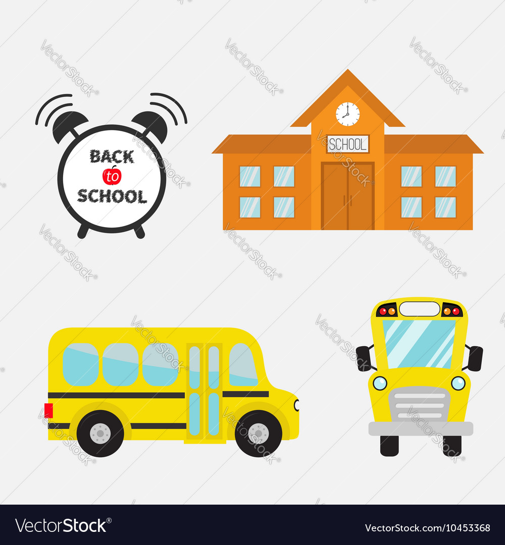 Back to school Yellow bus set Transportation Alarm vector image