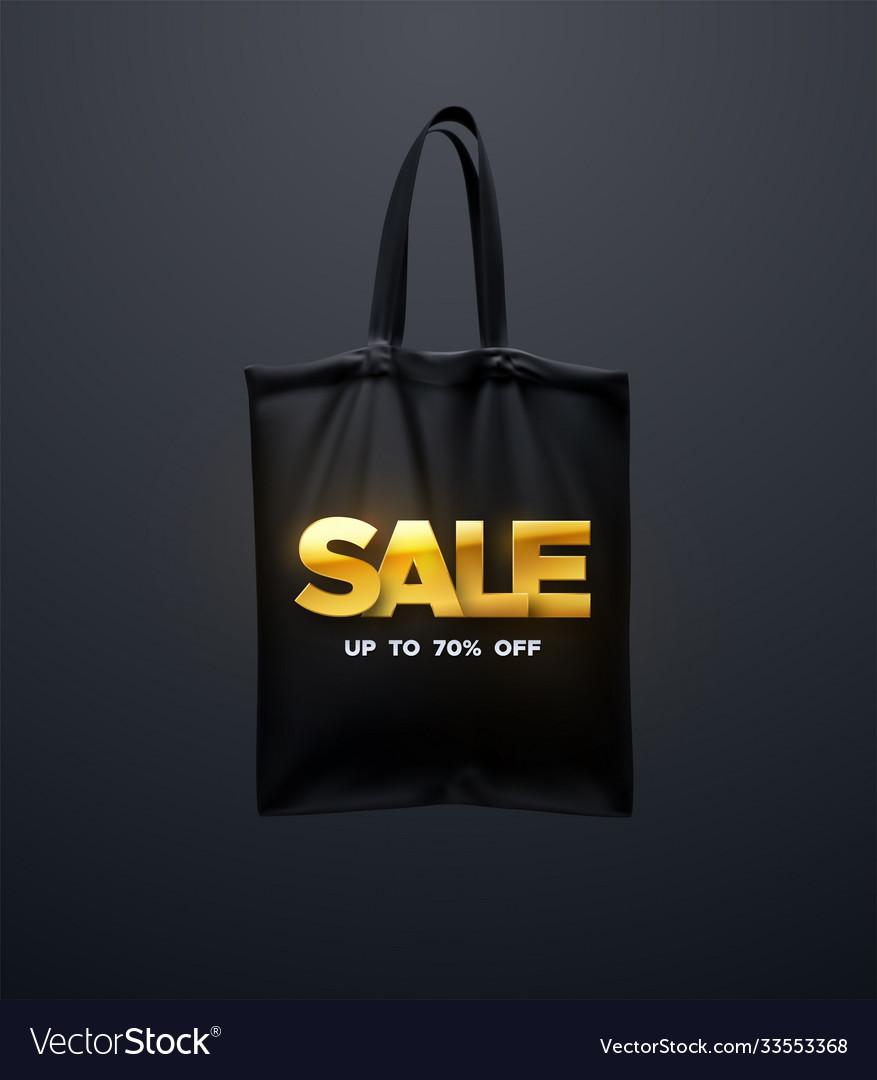 Black tote bag with golden sale sign
