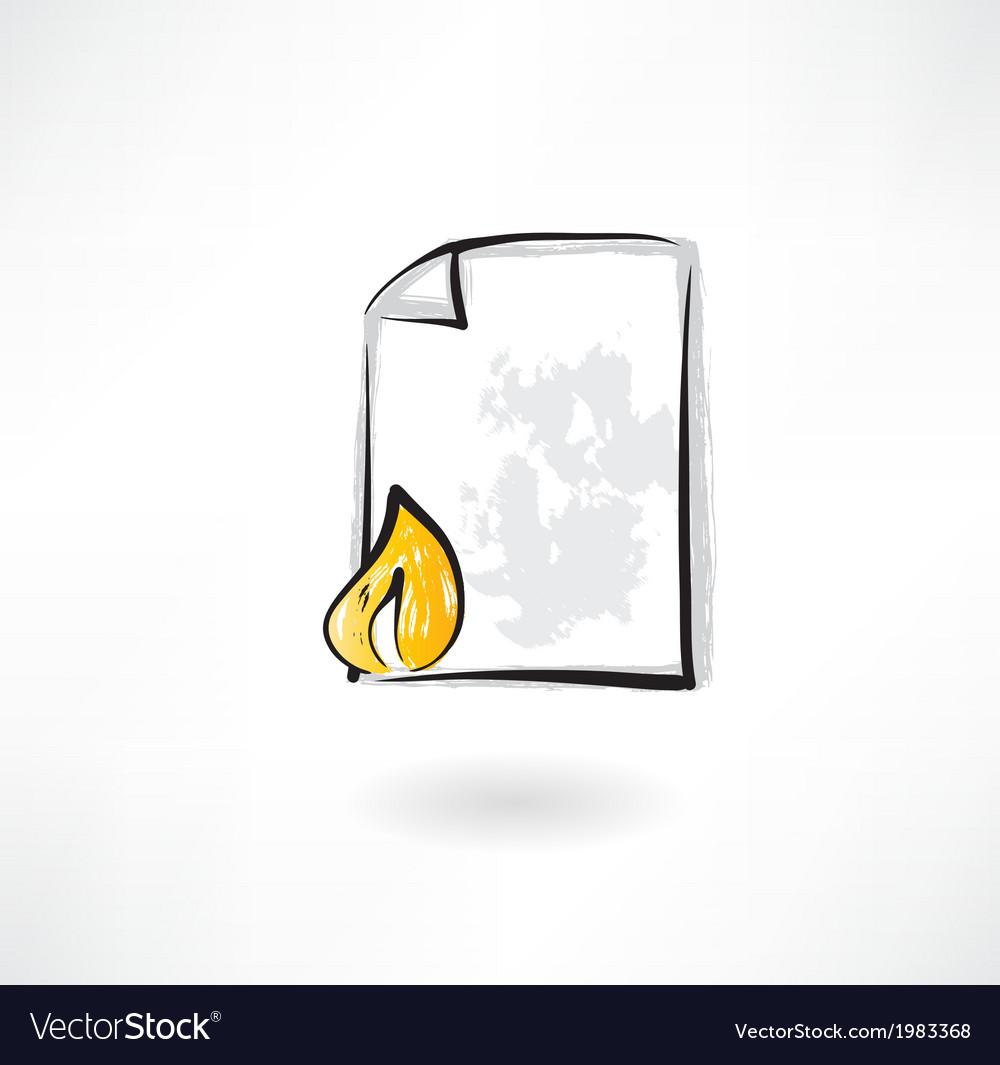 Burning document grunge icon