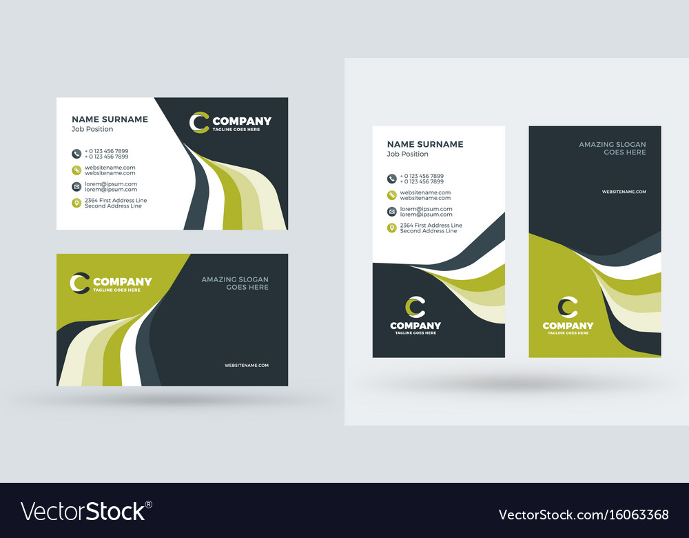 Double sided creative business card template vector image fbccfo
