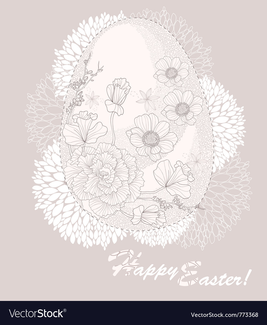 Easter egg easter card with floral pattern
