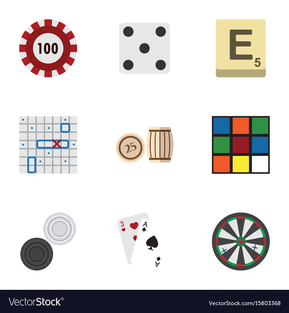 Flat icon play set of poker arrow mahjong and vector image