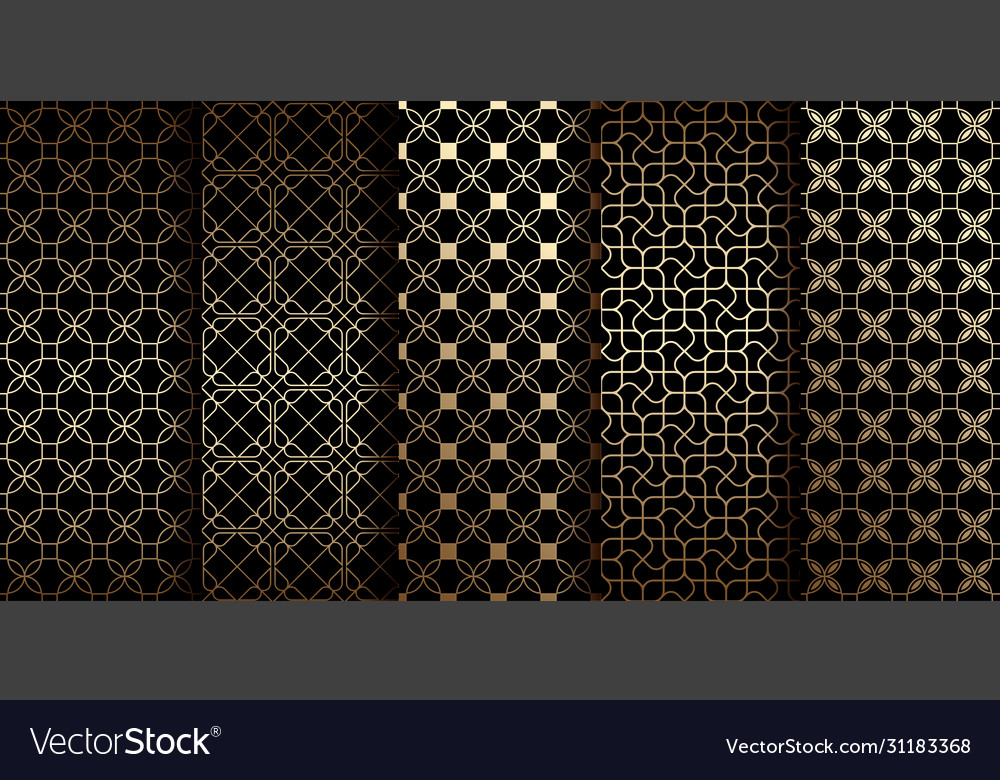Golden oriental seamless patterns with stylized